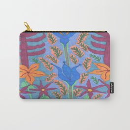 Lush Blue Bohemian Floral Garden Carry-All Pouch