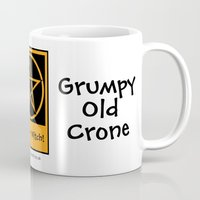 pagan Mugs featuring Grumpy Old Crone Pagan Wiccan Cup Mug by Cheeky Witch