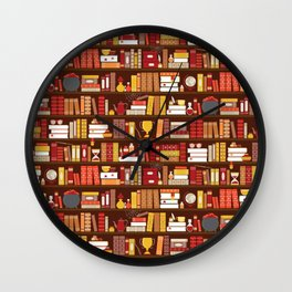 Book Case Pattern - Red and Gold Wall Clock