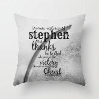 stephen king Throw Pillows featuring Stephen by KimberosePhotography