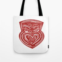 maori Tote Bags featuring Maori Mask Etching by patrimonio
