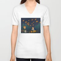destiel V-neck T-shirts featuring starry pond by noCek