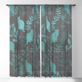 Watercolor Floral and Cat IV Sheer Curtain