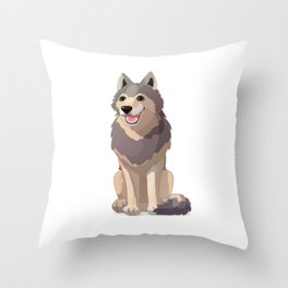 Happy gray wolf. Vector graphic character Throw Pillow