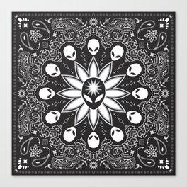 Alien Paisley Black Canvas Print