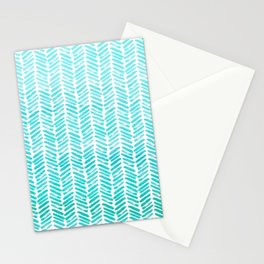 Handpainted Chevron pattern - small - light green and aqua teal Stationery Cards