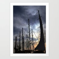 sailing Art Prints featuring sailing by gzm_guvenc