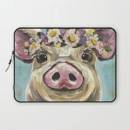 Pig Art, Flower Crown Pig, Farm Animal Laptop Sleeve