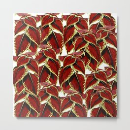 Red Leaves On White Pattern Metal Print