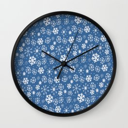 Snowflake Snowstorm With Sky Blue Background Wall Clock