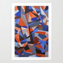 Orange & Blue Geoprint Art Print