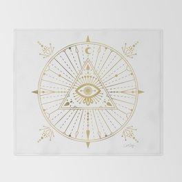 All-Seeing Eye Mandala – Gold Palette Throw Blanket