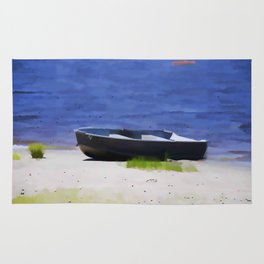 Boat on the beach Rug