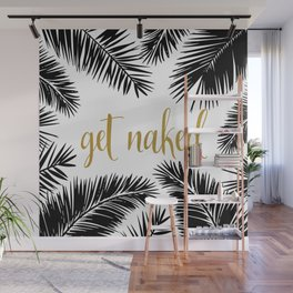 Get Naked Print,Bathroom Decor, Black and White Tropical Palm Leaves Wall Mural