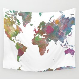World Map - Watercolor 4 Wall Tapestry