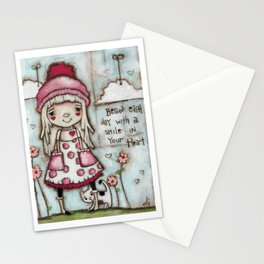 Happy Heart - Motivational Art for Girls Stationery Cards