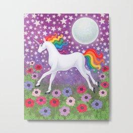 wanderlust (rainbow unicorn), moon and stars, anemone Metal Print