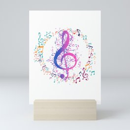 Treble Clef In A Circle Of Music Notes Mini Art Print