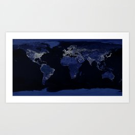 Earth at Night with the lights of most populated cities Art Print