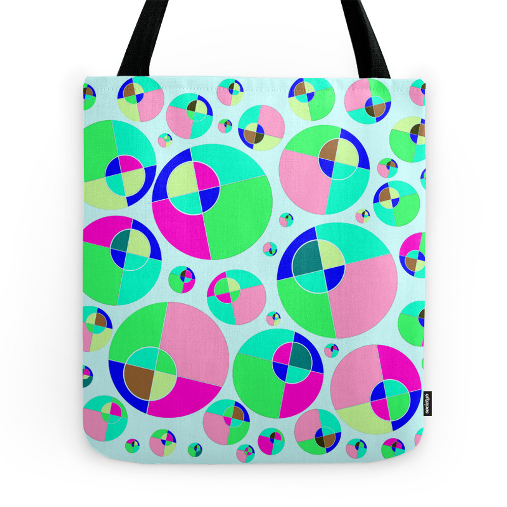 Bubble Pink & Green Tote Purse by boutiquezia (TBG7222649) photo