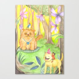 Magical Forest and the King Cat Canvas Print