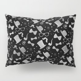 Hipster Elements Pattern silver on black Pillow Sham