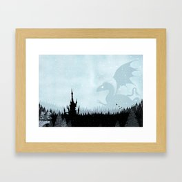 Dragon in Snowy Forest Framed Art Print