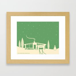 Mid-Century Snowscape in Green Framed Art Print