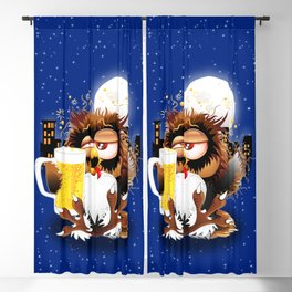Drunk Owl with Beer Funny Character Blackout Curtain