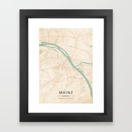 Mainz, Germany - Vintage Map Framed Art Print