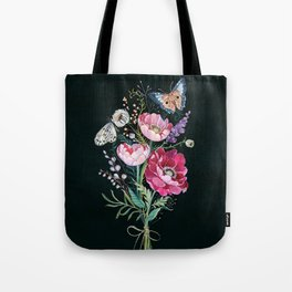 Butterfly Floral Bouquet Tote Bag