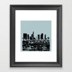 Downtown Los Angeles Skyline - Stamp Pattern on Light Blue Framed Art Print
