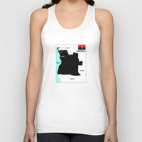 political Tank Tops featuring political map of Angola country with flag by tony tudor
