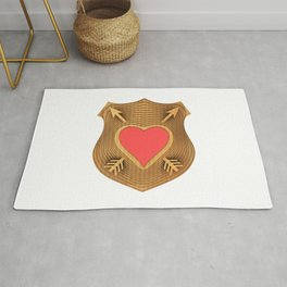 Illustration of a symbolic coat of arms of love. Rug