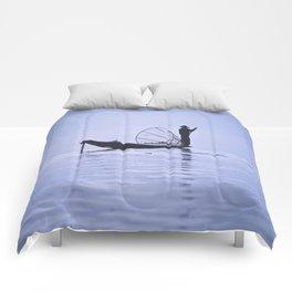 FISHERMAN AT INLE LAKE II Comforters