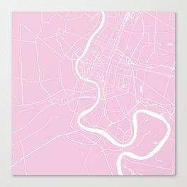 Bangkok Thailand Minimal Street Map - Pastel Pink and White Canvas Print