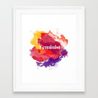 feminism Framed Art Prints featuring Feminism Watercolor by Pia Spieler