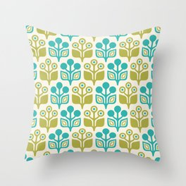 Mid Century Garden Flower Pattern Turquoise Chartreuse Throw Pillow