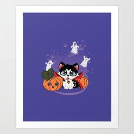 Kawaii count Huskula with pumpkins and ghosts Art Print