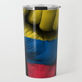 Colombian Flag on a Raised Clenched Fist Travel Mug