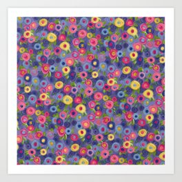 Rose Garden painting pink purple blue yellow green roses leaves Art Print