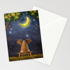 Illustration of a elephant on a bench in the night forest  Stationery Cards