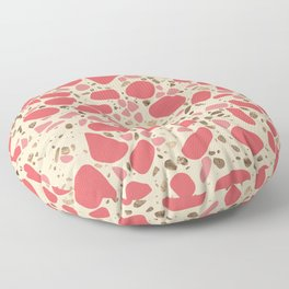Terrazzo - Mosaic - living coral and gold on pastel Floor Pillow