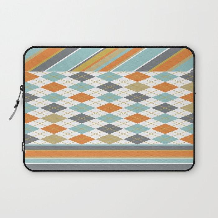 Retro 1980s Argyle and Stripes Geometric Laptop Sleeve