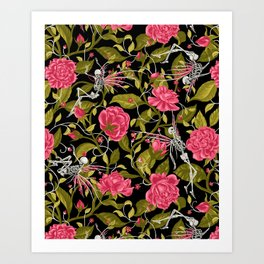 Death of Summer (black and rose) Art Print