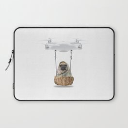 Pug Dog in a Drone Laptop Sleeve