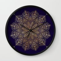 islam Wall Clocks featuring Gold Mandala by Mantra Mandala