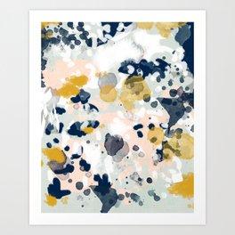 Noel - navy mint gold painted abstract brushstrokes minimal modern canvas art painting Art Print