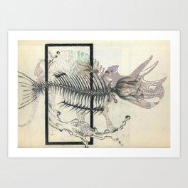 rose-Fish-bone dinosaur Art Print