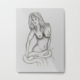 Female Nude with Snake Metal Print